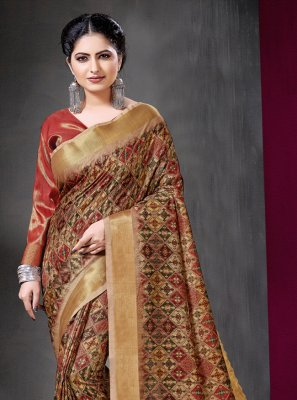 Printed Art Silk Casual Saree in Multi Colour