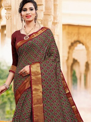 Printed Art Silk Contemporary Saree in Green
