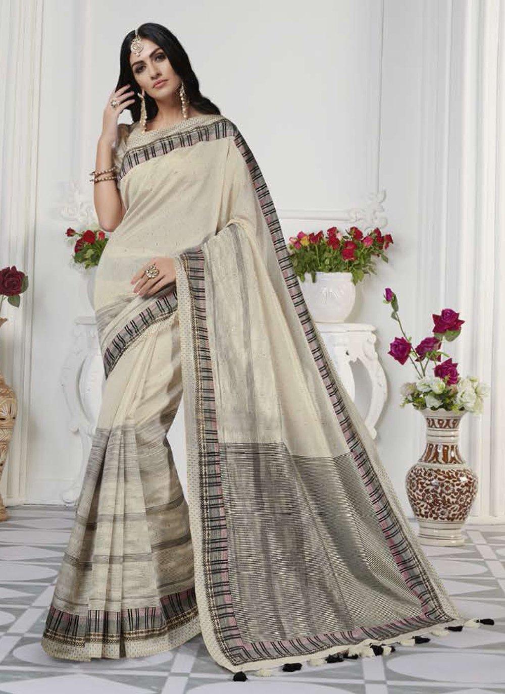 Printed Art Silk Cream Designer Traditional Saree
