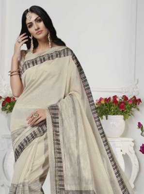 Printed Art Silk Cream Designer Traditional Saree