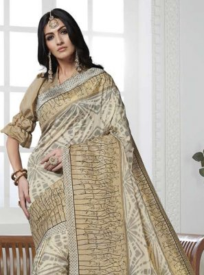 Printed Art Silk Gold Casual Saree