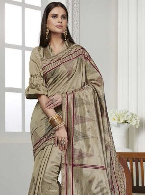 Printed Art Silk Gold Contemporary Saree