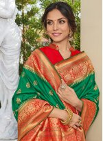 Printed Art Silk Green Saree