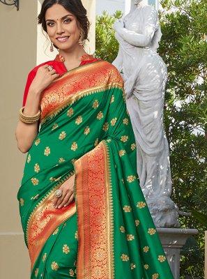 Printed Art Silk Green Saree
