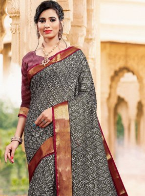 Printed Art Silk Grey Casual Saree
