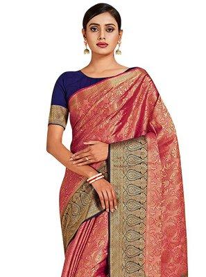 Printed Art Silk Pink Designer Traditional Saree