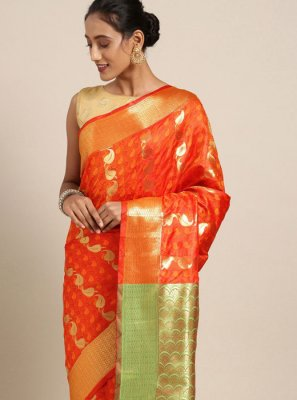 Printed Art Silk Printed Saree in Orange