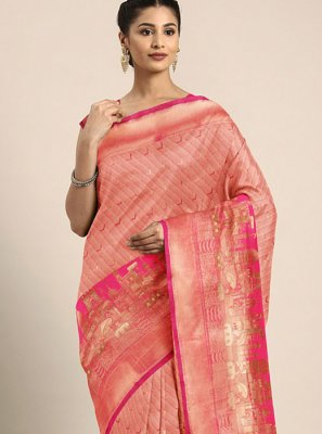 Printed Art Silk Printed Saree in Pink