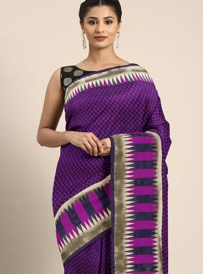 Printed Art Silk Purple Printed Saree