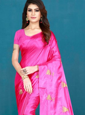 Printed Art Silk Silk Saree in Pink