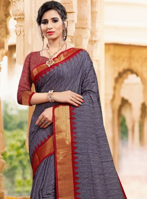 Printed Art Silk Traditional Saree in Grey
