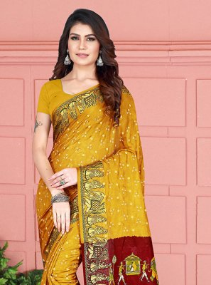 Printed Art Silk Trendy Saree