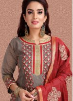 Printed Banarasi Silk Churidar Salwar Suit in Grey