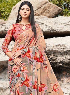 Printed Beige and Grey Faux Chiffon Printed Saree