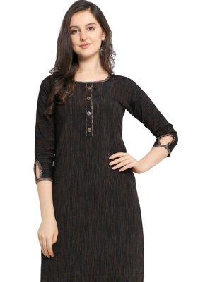 Printed Black Cotton Designer Kurti