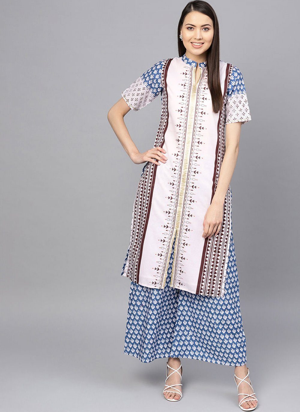 Printed Blue and White Cotton Party Wear Kurti