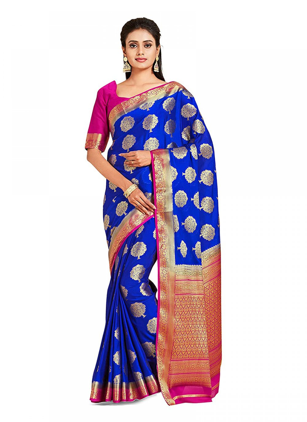Printed Blue Art Silk Designer Traditional Saree
