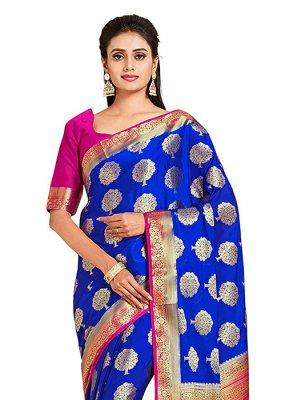Printed Blue Art Silk Designer Traditional Saree