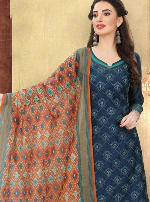 Printed Blue Churidar Designer Suit