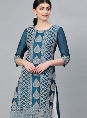 Printed Blue Cotton Designer Kurti