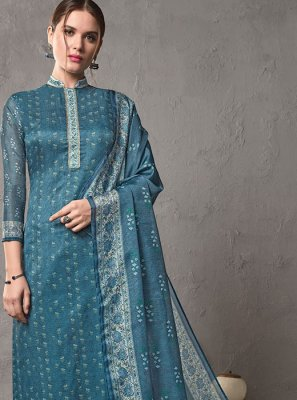 Printed Blue Cotton Silk Salwar Suit