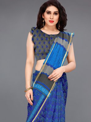 Printed Blue Cotton Trendy Saree