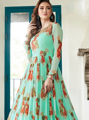 Printed Sea Green Designer Gown