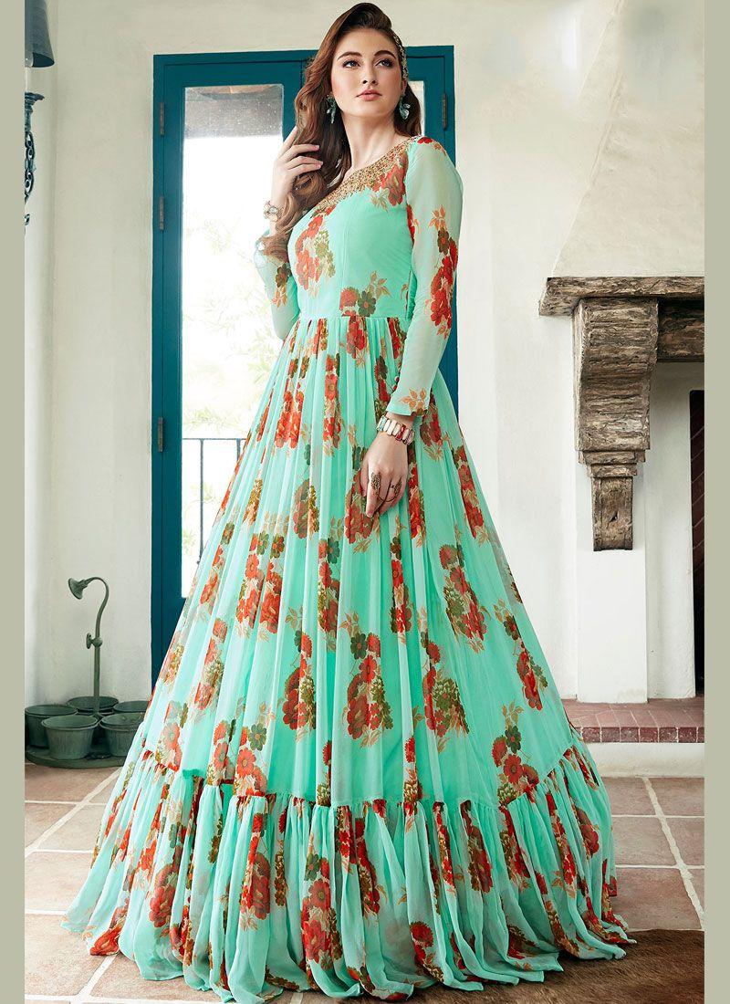 Printed Sea Green Designer Gown