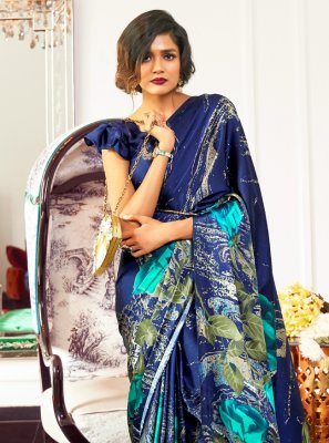 Printed Blue Faux Crepe Traditional Saree