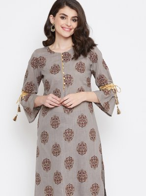 Printed Brown Casual Kurti