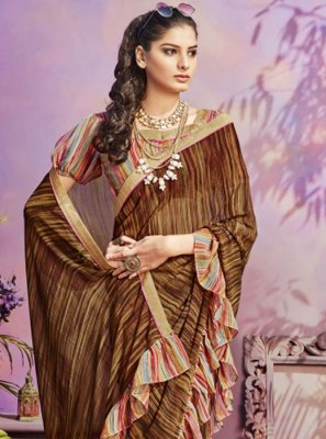 Printed Brown Casual Saree