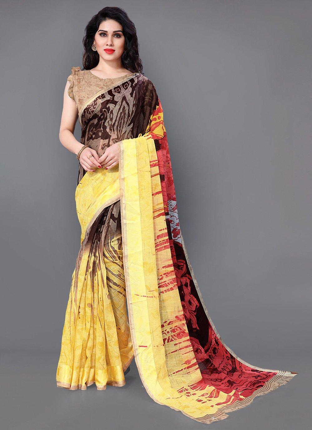 Printed Brown Casual Saree