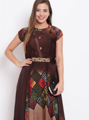 Printed Brown Party Wear Kurti