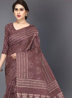 Printed Brown Silk Silk Saree