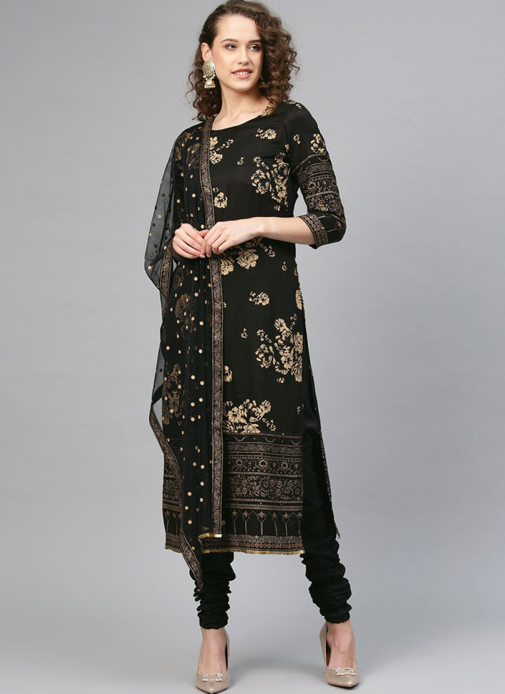 Printed Ceremonial Churidar Designer Suit