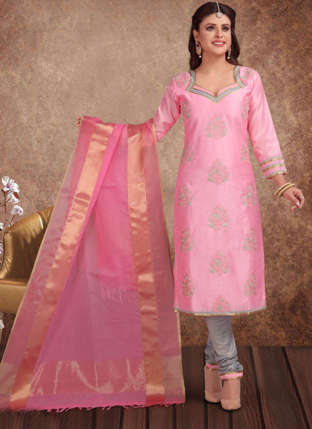 Printed Chanderi Churidar Salwar Kameez in Pink