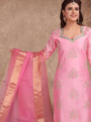Printed Chanderi Churidar Salwar Kameez in Pink