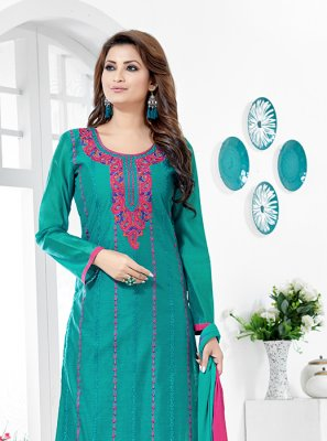 Printed Chanderi Cotton Salwar Kameez in Teal