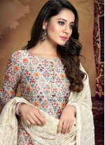 Printed Chanderi Off White Designer Palazzo Salwar Suit