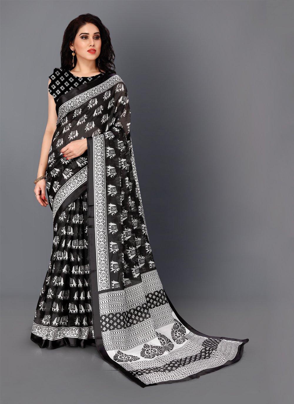 Printed Cotton Black and White Classic Saree