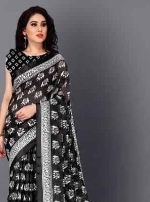 Printed Cotton Black and White Classic Saree