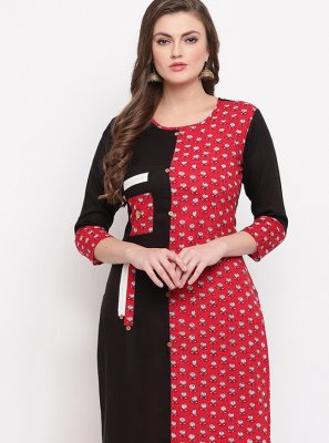 Printed Cotton Black Casual Kurti