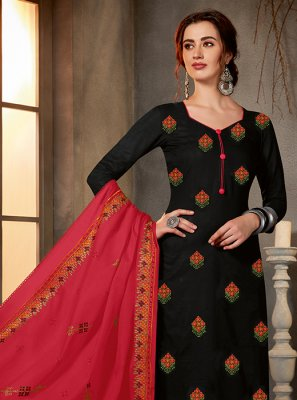 Printed Cotton Black Salwar Kameez
