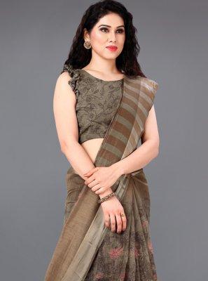 Printed Cotton Brown Casual Saree