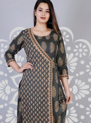 Printed Cotton Casual Kurti in Black and Grey
