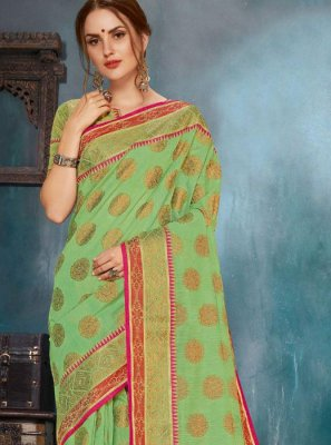 Printed Cotton Casual Saree in Green