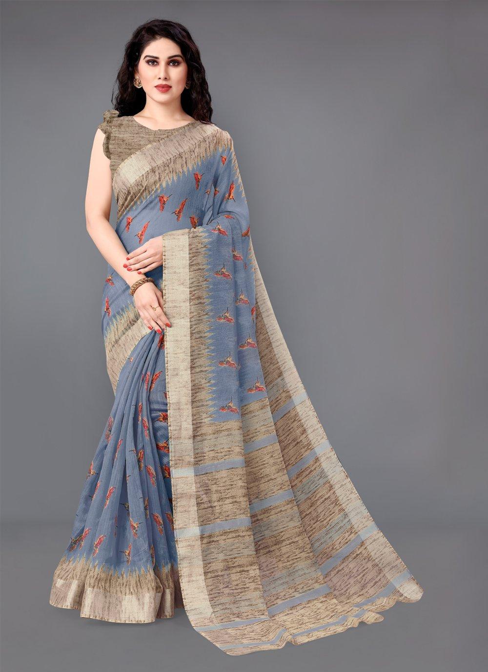 Printed Cotton Casual Saree in Grey