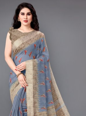 Printed Cotton Casual Saree in Grey