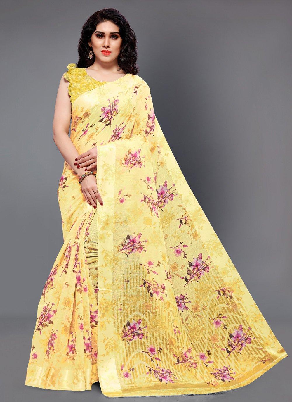Printed Cotton Classic Designer Saree in Yellow