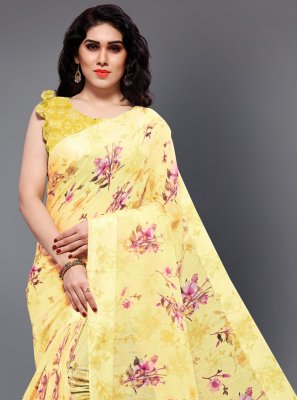 Printed Cotton Classic Designer Saree in Yellow